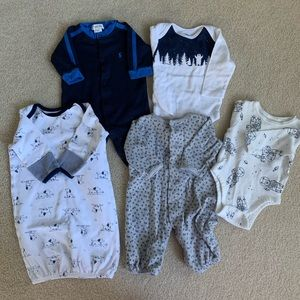 Navy white gray bundle 5 pieces 0-3 months